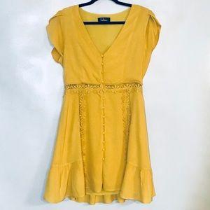 Lulus mustard yellow floral dress-M